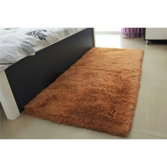 Harga Anti-skid 40x60cm Bedroom Dinning Room Floor Mat Soft Shaggy Rug Carpet (brown) - intl