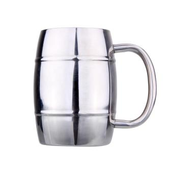Harga 420ML Barrel Shape Double Walled Stainless Steel Beer Cup Tea Coffee Cups - intl