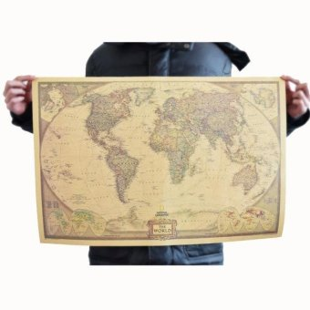 Harga Vintage Retro Print Map Kraft Paper Antique Poster Wall Sticker Wall Décor - intl