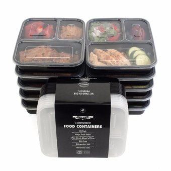 Harga 10PCS 3 Compartment Food Storage Containers with Lids Bento Box Lunch Box Picnic Food Storage Box Microwave and Dishwasher Safe - intl
