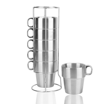 Harga Double stainless steel cup coffee cup folding seven sets of cup with wire cup holder tower cup coffee set