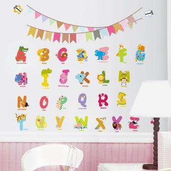 Harga 2016 Animal Characters Letters Wall Sticker Flag Nursery Kids Room Birthday Decoration English Wall Decals Alphabet Logo Gift - intl