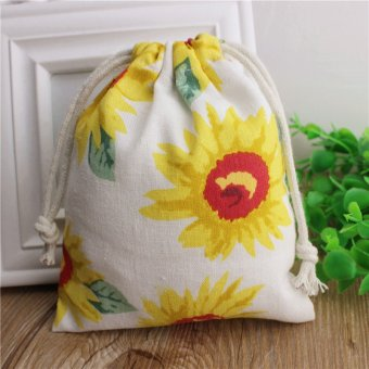 Harga Cloth mania to create handmade cotton drawstring bag drawstring bag gift bag white sunflower pouch wholesale