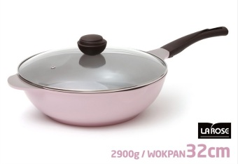 Harga Cheftopf Korean 5 Layers Ceramic Coating Stir-Frying Wok with a Glass Cover. 32 cm - intl