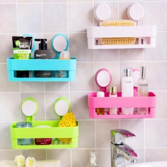 Harga chen Plastic Storage Rack Wall Sucker Organizer color:Pink - intl