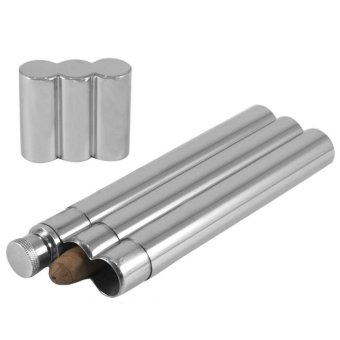 Harga leegoal 2Oz Stainless Steel Flask With 2 Cigar Tubes Travel Case Holder,Silver - intl