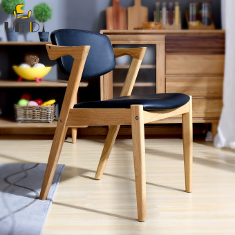 Harga UMD solid wood legs and PU cushion dinning chairs(Black)