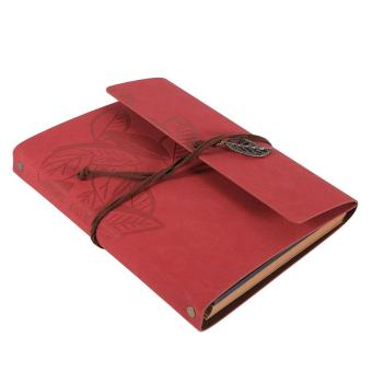 Artificial leather Cover Retro Photo Album Leaf Type DIY Birthday Wedding Gift (Red) - intl