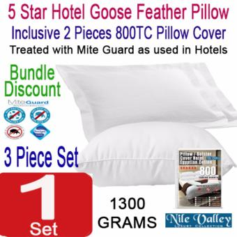 Harga Nile Valley's 5 Star Hotel Goose Feather Pillow 1300g. Inclusive 2 Egyptian Pillow Covers