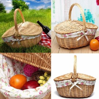 Harga Travel Wicker Hand Picnic Storage Basket Shopping Hamper With Lid and Handle New - intl