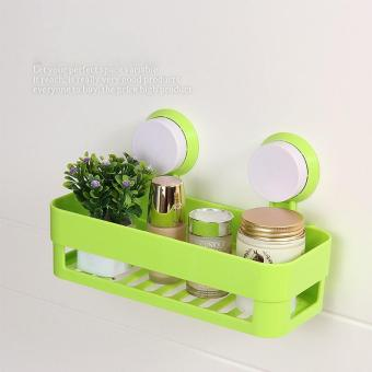 Harga chen Plastic Storage Rack Wall Sucker Organizer color:Green - intl