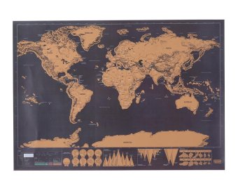 Harga leegoal Scratch Off World Map,Scratch Off World Travel Tracker Poster Map,30x42.5cm,Black - intl