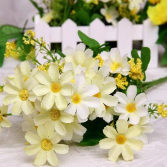 Harga Artificial Silk Flower Daisy Bouquet Fake Flowers for Party Wedding Table Decor White - intl