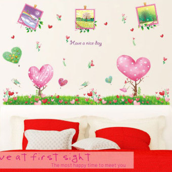 Harga Cute couple photo wall stickers romantic bedroom living room tv background removable wall stickers cartoon decoration sticker