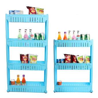 Harga Moving Rack Kitchen Storage Shelf Wall Cabinets(Blue)(4 Layers)