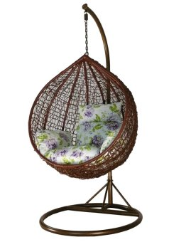 Harga Amber Initial Coffee Rattan Swing Chair with Purple Penoy Flower Cushion Cover