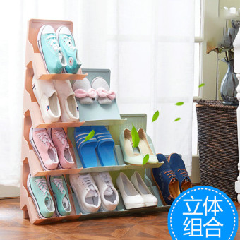 Harga Japanese-style shoe rack vertical shoe rack combination can be superimposed shoe shoes finishing frame shoe rack one-shoe rack Cabinet