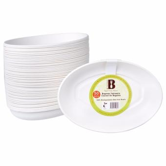 BFOODING Biodegradable Bagasse Oval Bowl - 26oz Disposable Tableware