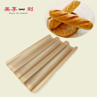 Harga French bread mold baking mold champagne 3 groove wave wave plate of french baguette mold release