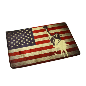 Harga NICESHOP 40 x 60cm Soft Flannel Welcome Door Mat Non-Slip Vintage American Flag Doormat Water-absorbing Indoor Outdoor Front Door Rug Mat Home Decorative Mat ( America)