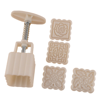 Harga Moon Cake Mooncake Decoration Mold Mould Flowers Square 4 Stamps Pastry DIY HOT - intl