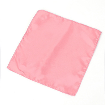 Harga Men Wedding Party Pure Plain Color Square Suit Pocket Satin Handkerchief Hanky Pink
