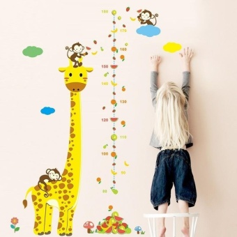 Harga Cartoon Jungle Animals Monkey Giraffe Children Height Measure Wall Stickers for Kids Room Wall Sticker Home Decoration - intl