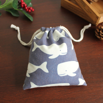 Harga Cloth language homemade/original handmade canvas drawstring pouch gift pouch/dark blue whale