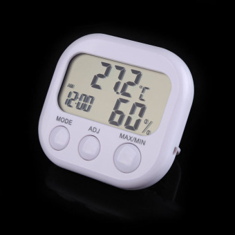 Harga Digital LCD Thermometer Hygrometer Clock Temperature Humidity Meter Gauge