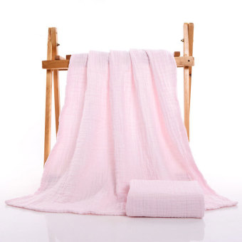 Harga 6 Layers Cozy Muslin Cotton Gauze Baby Blanket Newborn Infant Swaddles 105*105cm Solid Pink - intl