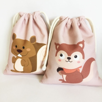 Harga Totu squirrels series bags canvas bag drawstring bag beam port travel debris storage clothing storage