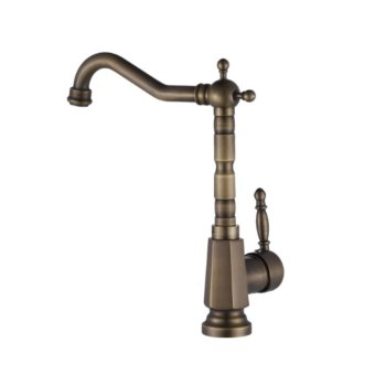 Harga antique copper faucet retro high rotation single-hole lavatory faucet bathroom sink faucet hot and cold water - intl