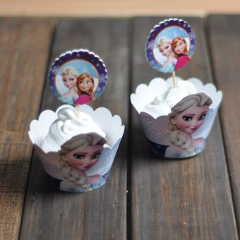 Harga Frozen elsa around the edges of the paper cup cake cups cups around the edge around the edges of the dessert station 12 pcs