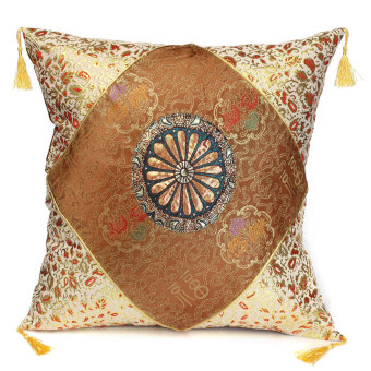 Retro Vintage Cotton Square Throw Cushion Cover Pillow Case Sofa Home Decor Brown (EXPORT)