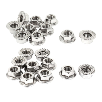 Harga 22mm Diameter M10x1.5mm Stainless Steel Serrated Hex Flange Nuts 10pcs