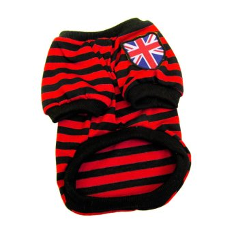 Harga Cute Designed For Dogs Puppy Summer Cute Striped Shirt Pet Supplies Clothes red&XL