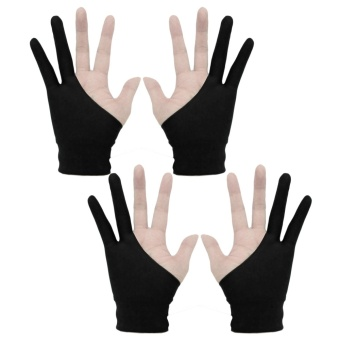 Harga 2 Pairs Professional 2-fingers Artist Tablet Drawing Gloves Anti-fouling for Graphic Tablet Drawing Pen Display Size S Black - intl