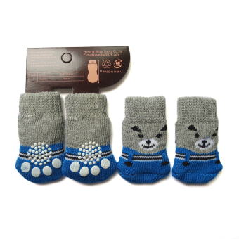 Harga 4 Pcs Pet Dogs Cats Socks Thick Strong Skid Designed Grey Blue Color