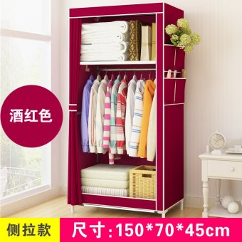 Simple student dormitory wardrobe steel frame finishing storage cabinet - intl