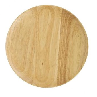 Harga BolehDeals Wooden Oak Plate Wood Serving Tray Food Dish Snacks Platter Kitchenware L - intl