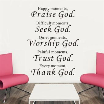 Harga happy moments praise god quotes christians living room wall stickers bedroom mural art vinyl home decor - intl