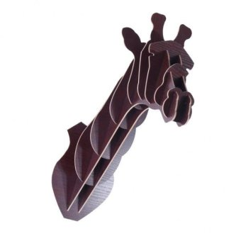 Harga BolehDeals 3D Puzzle Wooden Model Wall Hanging Giraffe Wildlife Head Sculpture -Brown - intl