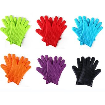 Harga 2pcs/set Heat Resistant Silicone Glove Cooking BBQ Oven Pot Holder Mitt Kitchen Five Fingers Insulated Slip Baking Tools Glove - intl