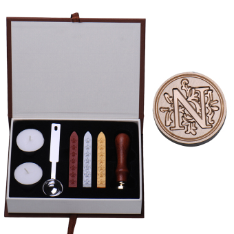 Harga Rondaful N Initial Letter Vintage Alphabet Wax Badge Seal Stamp w/Wax Kit Set Letter A-Z Optional