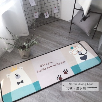Scandinavian minimalist cartoon strip mats multifunctional slip more absorbent kitchen bedroom bedside mat machine washable