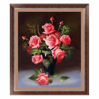 Harga blackhorse Diamond Painting Rose Flower With Vase 5D Round Drill Diamond Painting Cross Stitch Room Decor Diy Diamond Embroidery Picture - intl