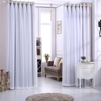 Harga Double Layers Lace Blackout Top Silver Grommets Curtain GYC2067-2 (Grey) (EXPORT)