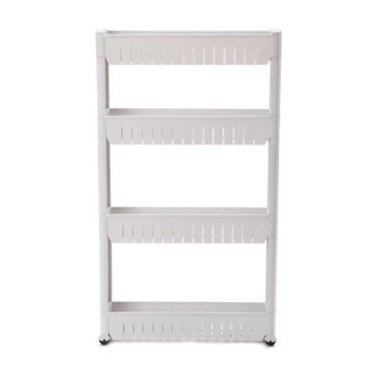 Harga Moving Rack Kitchen Storage Shelf Wall Cabinets (White) (4 Layers)