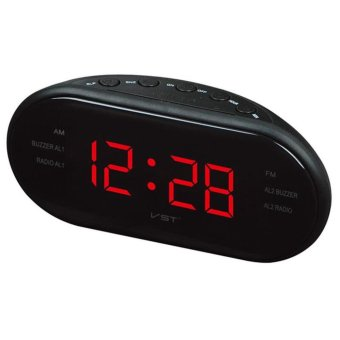 Harga star mall-LED Alarm Clock Radio Digital AM/FM Radio Red With EU Plug - intl