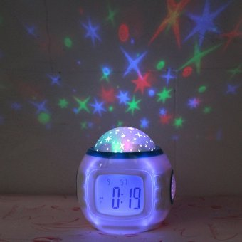 Harga Music starry sky projection clock electronic alarm clock creative students personality bedside alarm clock mute luminous child small alarm clock